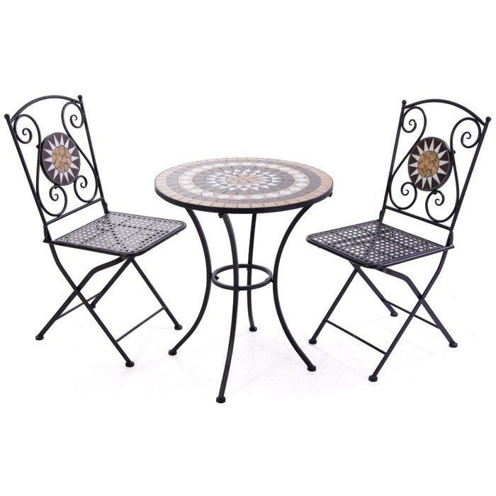 Set giardino mosaico tavolo e 2 sedie for Set tavolo e sedie da giardino outlet