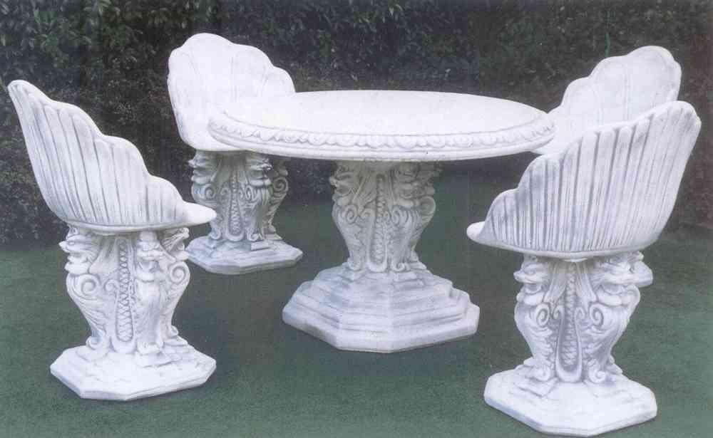 Tavoli Da Giardino In Cemento.Set Amiata Tavolo 4 Sedie In Cemento Arredogiardini It